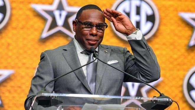 Vanderbilt Commodores head coach Derek Mason addresses the media during SEC football media day Thursday, July 19, 2018, at the College Football Hall of Fame.