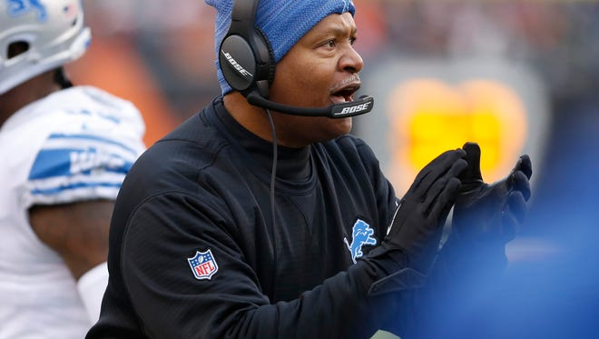 Lions coach Jim Caldwell reacts during the first half of the Lions' 26-17 loss on Sunday, Dec. 24, 2017, in Cincinnati.