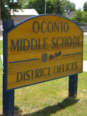 Oconto School District sign.