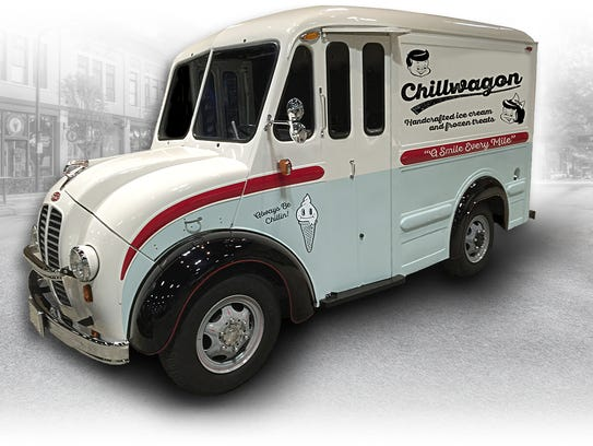 The Chillwagon is housed inside a 1965 Divco delivery