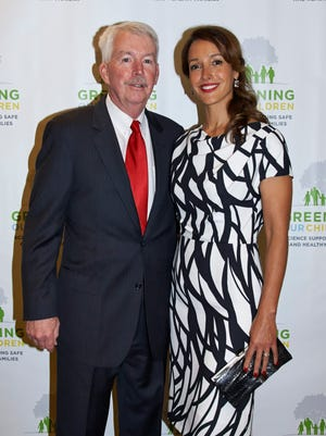 Dr. Philip Landrigan with Jennifer Beals at the Children's Environmental Health Center's seventh annual Greening Our Children Benefit in May 2014.