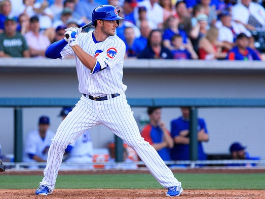 Chicago Cubs outfielder Kris Bryant is at bat during