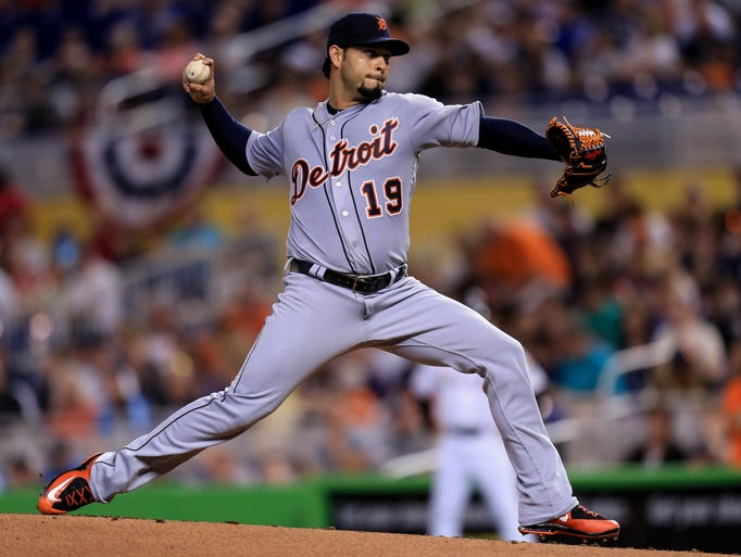 Anibal Sanchez of the Detroit Tigers delivers a pitch