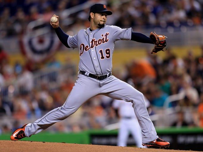 Anibal Sanchez of the Detroit Tigers delivers a pitch