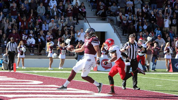Missouri State tight end Gannon Sinclair scores from 29 yards out on Saturday against USD.