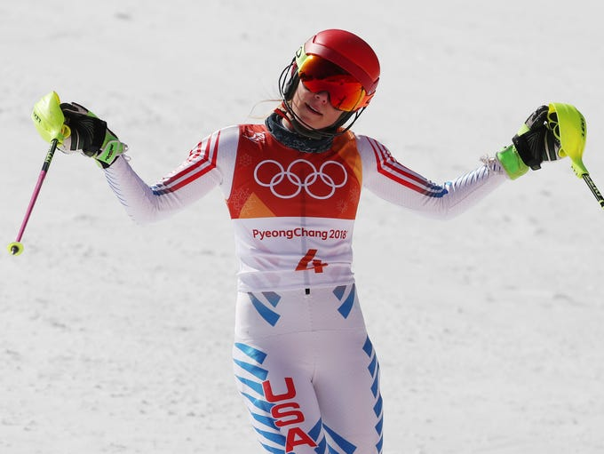 Shiffrin reacts after her second slalom run at the