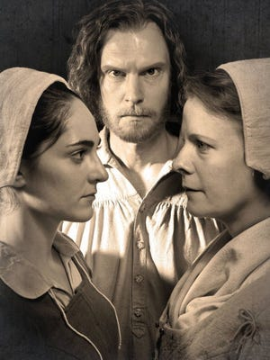 Elizabeth Aaron/Special to the News Sentinel Lauren Pennline, Grant Goodman and Jenny McKnight in 'The Crucible.'
