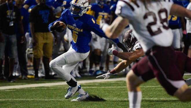 Texas A&M-Kingsville wide receiver Jordan Thomas cuts up field against West Texas A&M on Saturday, October 7, 2017 at Javelina Stadium in Kingsville.