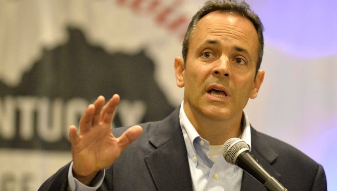 Kentucky Republican gubernatorial candidate Matt Bevin speaks at a candidates forum during a meeting of county judge executives and magistrates conference, in Louisville, Ky. Friday.