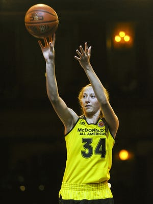 Kylee Shook, from Colorado Springs, Colorado, competes in the girls three point contest during the McDonald's All-American Jam Fest, Monday, March 28, 2016, in Chicago.