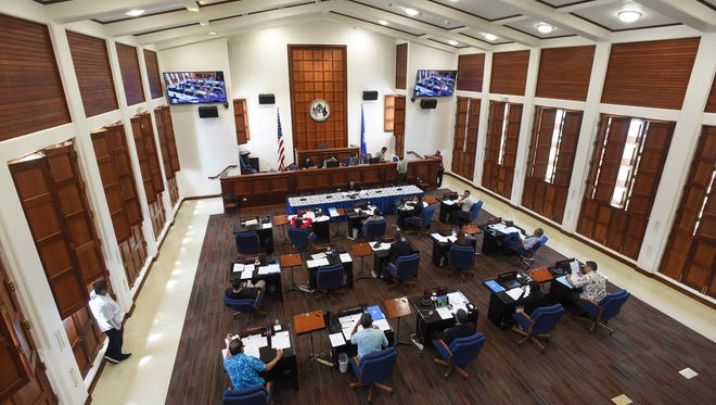 Senators in the 34th Guam Legislature are shown during session at the Guam Congress Building in this file photo.