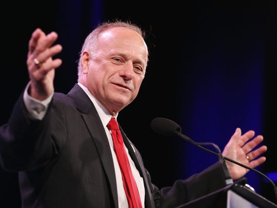 U.S. Rep. Steve King, who represents Iowa's 4th Congressional District, speaks to guests  at the Iowa Freedom Summit on Jan. 24, 2015 in Des Moines, Iowa. King spoke on MSNBC Monday, remarking on the vast contributions of white people throughout history; social media erupted.