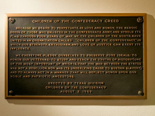 This photo shows the Children of the Confederacy Creed