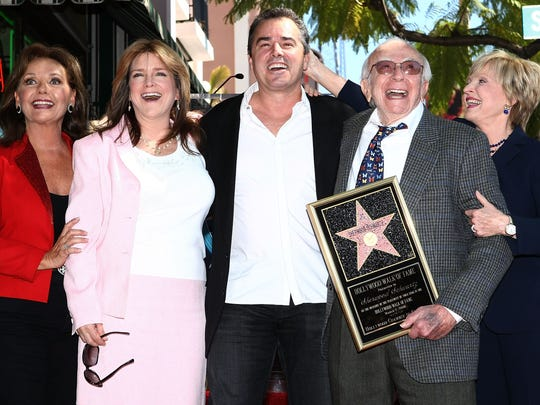 (L-R) Actress Dawn Wells, actress Susan Olson, actor Christopher Knight, producer Sherwood Schwartz and Florence Henderson attend a ceremony honoring producer Sherwood Schwartz with a star at the Hollywood Walk of Fame on March 7, 2008 in Hollywood, California.