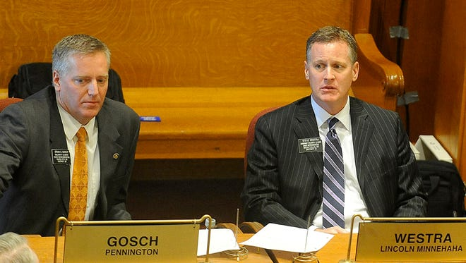 Rep. Brian Gosch and Rep. Steven Westra at the state capitol in Pierre, S.D., Tuesday, Jan. 12, 2016.