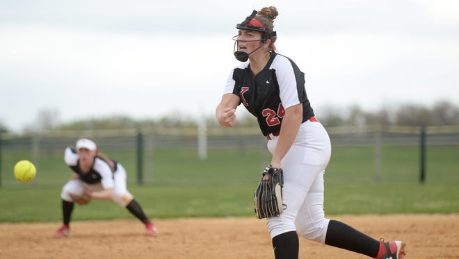 Kingsway's Danielle Dominik throws a pitch in an April win over Clearview. The Dragons are ranked No. 6 in the Courier Post Mean 15.