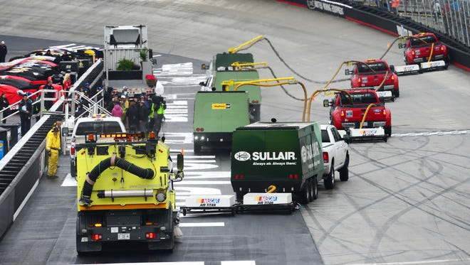 Air Titan drys the track during the Food City 500 at Bristol Motor Speedway on March 16.