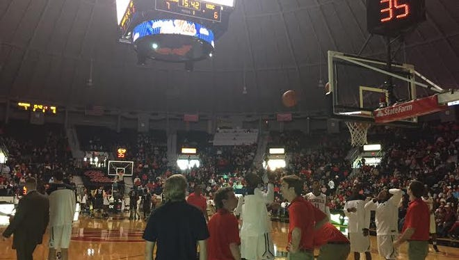 The lights went out at Tad Smith Coliseum on Saturday.