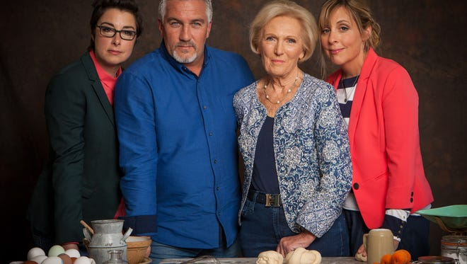 From left: Sue Perkins, Paul Hollywood, Mary Berry, and Mel Giedroyc of PBS' 'The Great British Baking Show.'