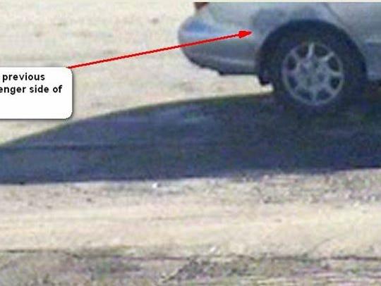 Rear damage on suspect's car