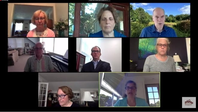 Town Moderator Carmin Reiss, bottom right, discusses plans for Annual Town Meeting during the Concord Select Board's virtual meeting on June 22.