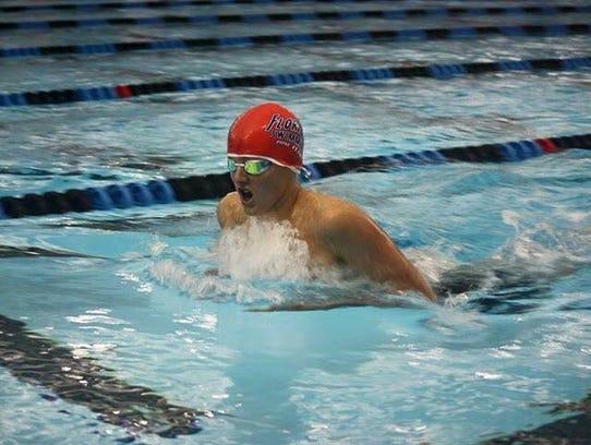 Ethan McCloud at swim team practice.