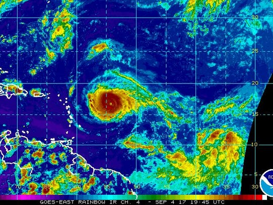 A satellite image of Hurricane Irma on Monday, Sept.