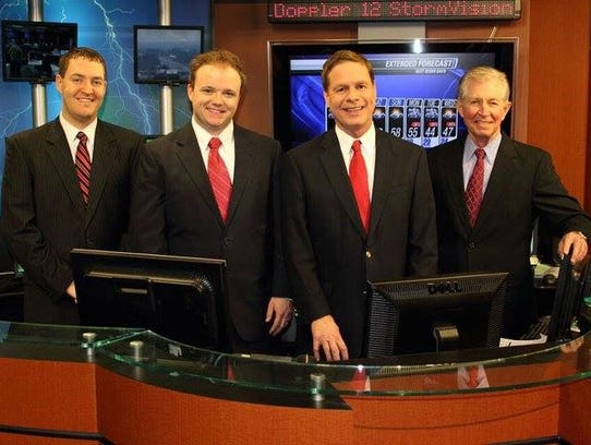Dan Atkinson, right, former WSFA chief meteorologist,