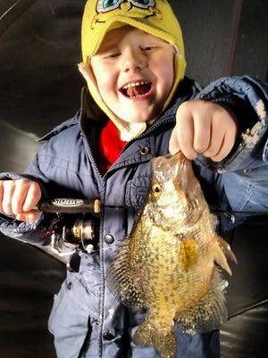 Conner Carlson, 5, with the nice crappie that he caught in January 2015.