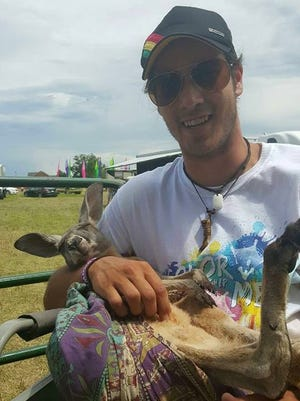 Devin Daugherty got a chance to hold his favorite animal, a kangaroo.