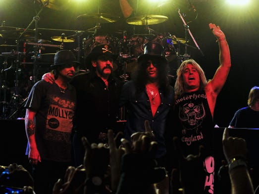 Phil Campbell and Lemmy Kilmister of Motorhead, Slash, and Mikkey Dee of Motorhead perform during day 3 of the 2014 Coachella Valley Music & Arts Festival on April 20 in Indio, Calif.