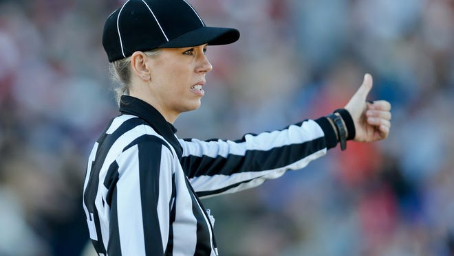 Official Sarah Thomas during the first half of a game between the South squad and the North squad at Ladd-Peebles Stadium. Mandatory Credit: Derick E. Hingle-USA TODAY Sports