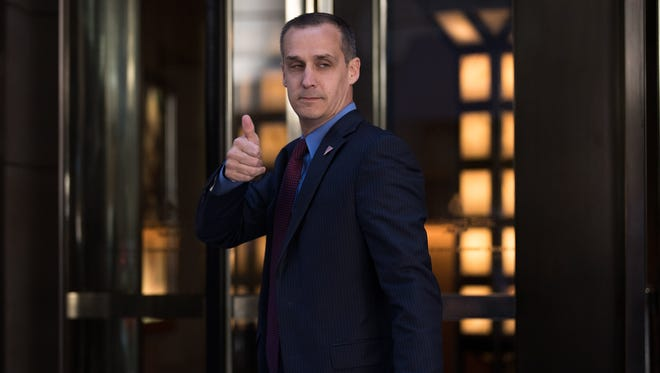 Corey Lewandowski gives the thumbs up as he leaves the Four Seasons Hotel after a meeting with Donald Trump and Republican donors June 9, 2016, in New York City.
