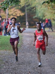 Kevin Heredia (Clifton) and Luis Peralta (Passaic) Big North Liberty Cross-Country Championships.