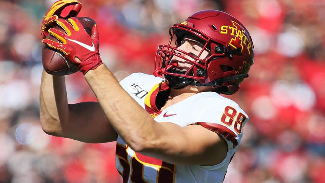 Iowa State tight end Charlie Kolar (88) has caught three touchdown passes in the past two games against Texas Tech. The two teams meet again Saturday at Jack Trice Stadium in Ames, Iowa.
