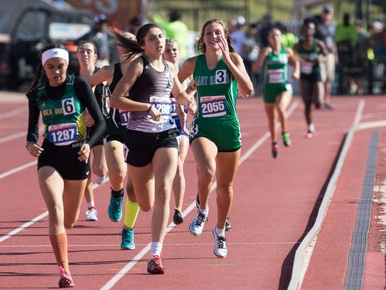 Wall's Jayden Fiebiger competes in the girls 3A 800
