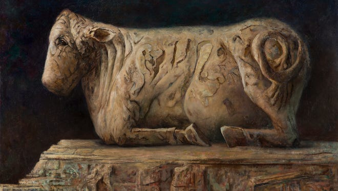 """Maggie Rose, """"Osuan Bull,"""" oil on linen, inspired by 5th c. stone statue from Osuan,Seville Spain, 36x48""""."""