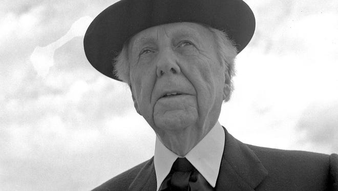 Frank Lloyd Wright stops in Milwaukee to do a television show at WITI-TV and to have talks about plans for a new Annunciation Greek Church. This photo was in the July 9, 1956, Milwaukee Journal.