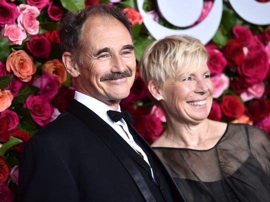 "Mark Rylance (left) and Claire van Kampen arrive at the 72nd annual Tony Awards at Radio City Music Hall on June 10, 2018. Rylance was nominated for best actor in a play for his performance in ""Farinelli and the King""; Andrew Garfield won the award in the category, for ""Angels in America."""