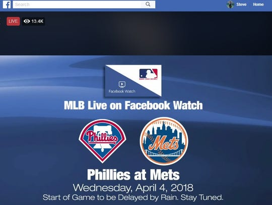 The first MLB game broadcast on Facebook started with a one-hour, 37 minute delay.