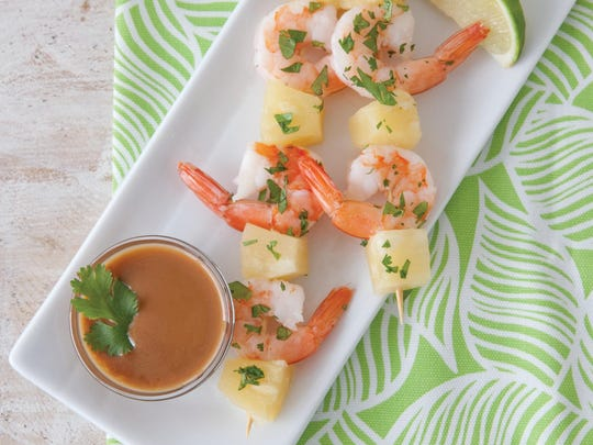 Pineapple and Shrimp Skewers with Thai Peanut Sauce