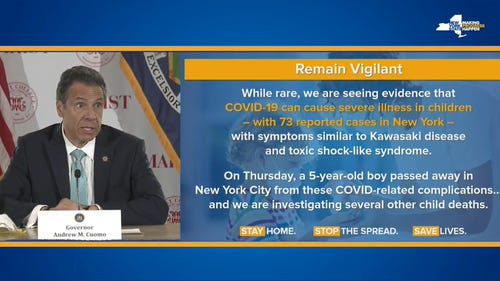 Gov. Andrew Cuomo said May 8, 2020, that a five-year-old boy died for COVID-19 related complications