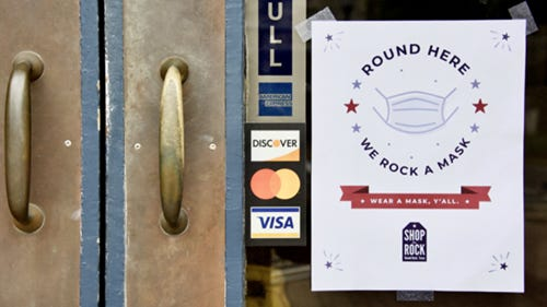 """As part of the """"Round Here, We Rock a Mask"""" campaign, flyers will be shared by the city and chamber virtually to local businesses to display on their doors to require wearing masks."""