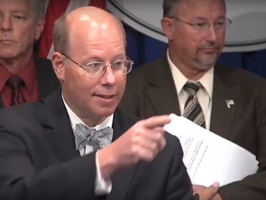 "Rep. Paul Schemel, R-Greencastle, answers questions about the House GOP's ""Taxpayer's Budget"" on Sept. 5, 2017."