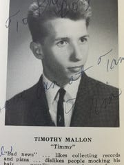 A 1965 Parsippany High School yearbook photo of Tim