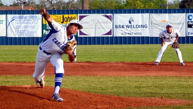 Carlsbad's Josh Chavarria gets a strikeout in game two Friday against Clovis.