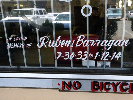 A tribute to its founder, Ruben Barragan on the window