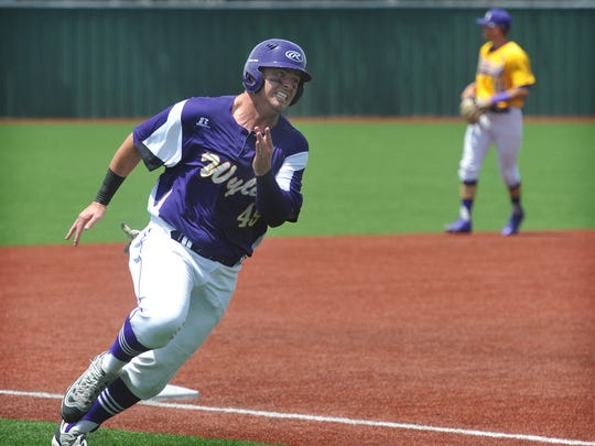 Abilene Wylie's Bryce Gist rounds third on his way to score a second-inning run against Godley Wednesday afternoon at Hoskins Field. Wylie beat Godley in the first game of a double header, 7-5.