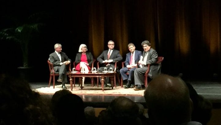 Vanderbilt University Chancellor Nicholas Zeppos, right, led panelists Monday in a discussion on the future of the U.S. Supreme Court.