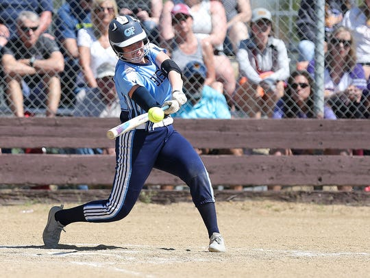 Great Falls High's Molly Schmitz connects during Saturday's